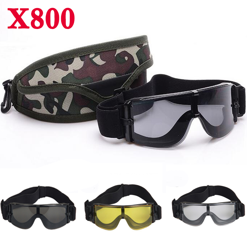 X800 Eyes Protection Anti-fog Tactical Helmet Goggle Glasses /& 3 Colors Lens