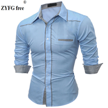 Simple casual tops mens shirt plaid pattern splice long-sleeved shirts blouse tide take fashion male clothing