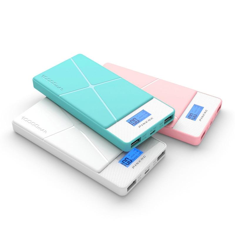 imágenes para PINENG 10000mA Entrada Dual USB Banco de la Energía Banco Móvil Portable con Pantalla LED PN-983