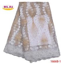 تطريز نيجيريا دانتيل ، حجر مطرز أقمشة الدانتيل شمسيّة دانتيل عالية الجودة ، الذهب الأبيض النيجيري أقمشة الدانتيل لحفل الزفاف MR1666B