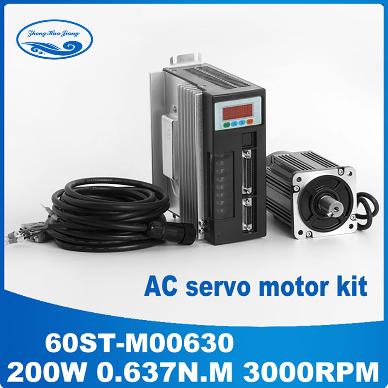 0.2KW AC servo motor 60ST-M00630 0.637N.M 200W 220v 3000rpm + ac servo drive +3M Cable for CNC Motor Controller цена