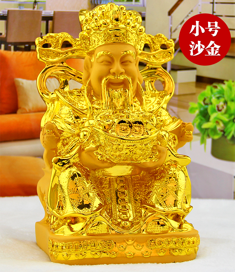 The God of wealth Mammon Sculpture Plutus statue open light lucky Buddha Feng Shui ornaments decorations