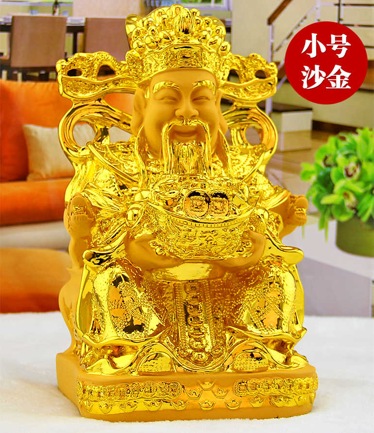 The God of wealth, Mammon Sculpture, Plutus statue, open light, lucky Buddha, Feng Shui, ornaments, decorations figurine