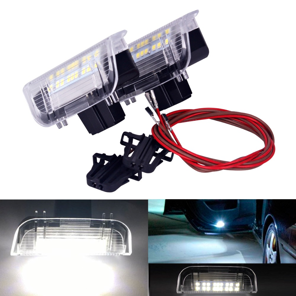2Pcs LED Door Warning Light Projector Lamp for Volkswagen VW Golf 5 6 7 Jetta MK5 MK6 MK7 CC Tiguan Passat B6 B7 Scirocco a style car door warning light cable plug harness clips for vw jetta mk5 golf 5 6 7 passat b6 b7 tiguan superb eos cc 3ad947411