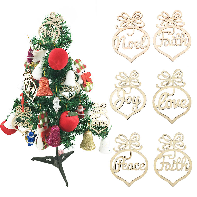 zljq 6pcs wooden mdf faith noel tags christmas party decoration scrapbooking christmas tree hanging ornaments
