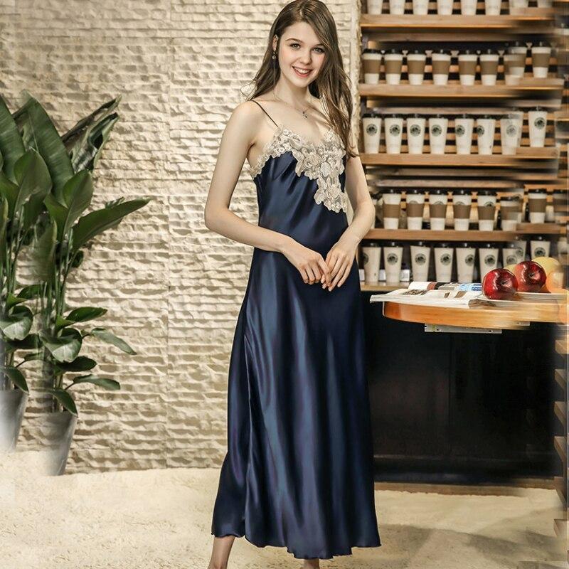 SSH0180 2018 New Brand   Nightgown   Women Sleepwear Female Nightwear Satin Silk Long Night Gown Dress   Sleepshirt   Sexy Lace Lingerie