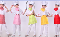 Top Pants Apron Hat Scarf Children Cooking Wear For Restaurant Kids Chef Uniform For Halloween Party
