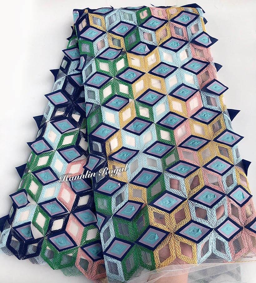 Unique multicolore cordon broderie dentelle française 3D appliqué africain tulle dentelle tissu mariage vêtement couture tissu 5 yards