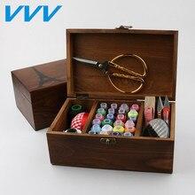 مجموعة أدوات الخياطة صندوق تخزين TapeThimble لإبرة الإبرة مجموعة أدوات الخياطة الخشبية حقيبة الخياطة الخشبية مع ملحقات الخياطة