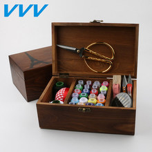 Threader Naald TapeThimble Opbergdoos Naaien Kit Tool kit hout naaien set houten naaien case met naaien accessoires