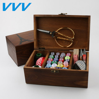 Threader Needle TapeThimble Storage Box Sewing Kit Tool kit wood sewing set wooden sewing case with sewing accessories фото