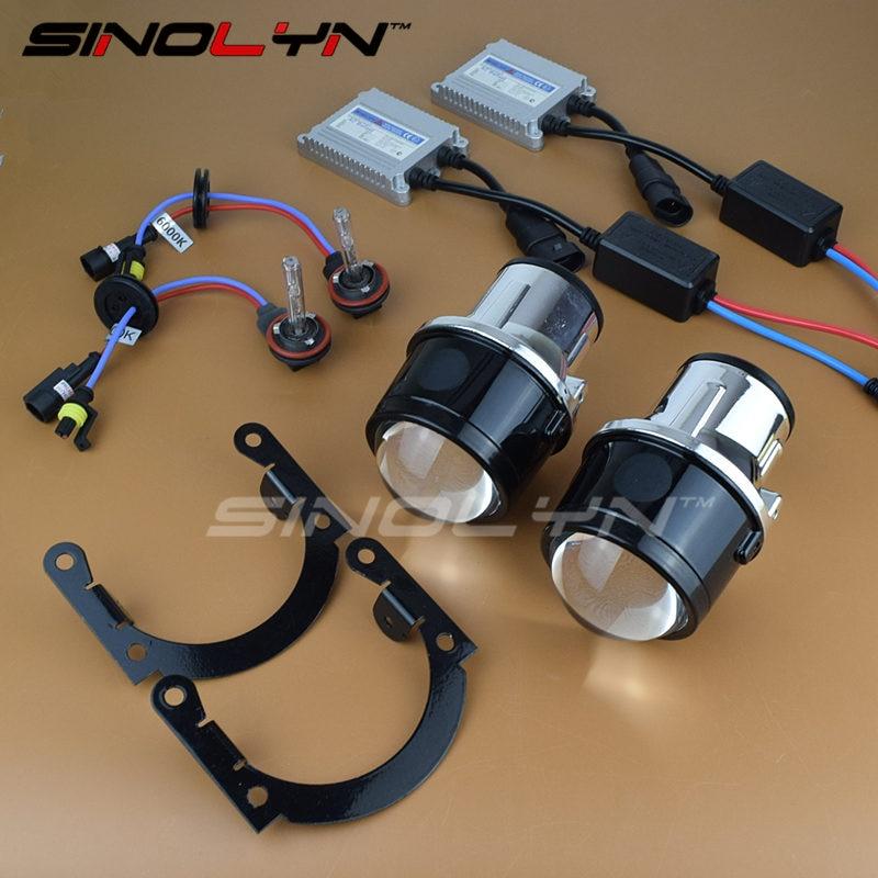 SINOLYN Universal HID Bi xenon Projector Lens Fog Lights Lenses Driving Lamp Retrofit DIY Waterproof Kit