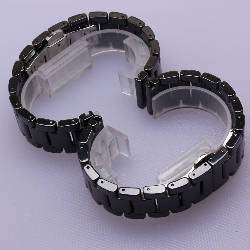 Watchbands 14mm 16mm 18mm 19mm 20mm 22mm High Quality Ceramic Watchband white black Diamond Watch fit