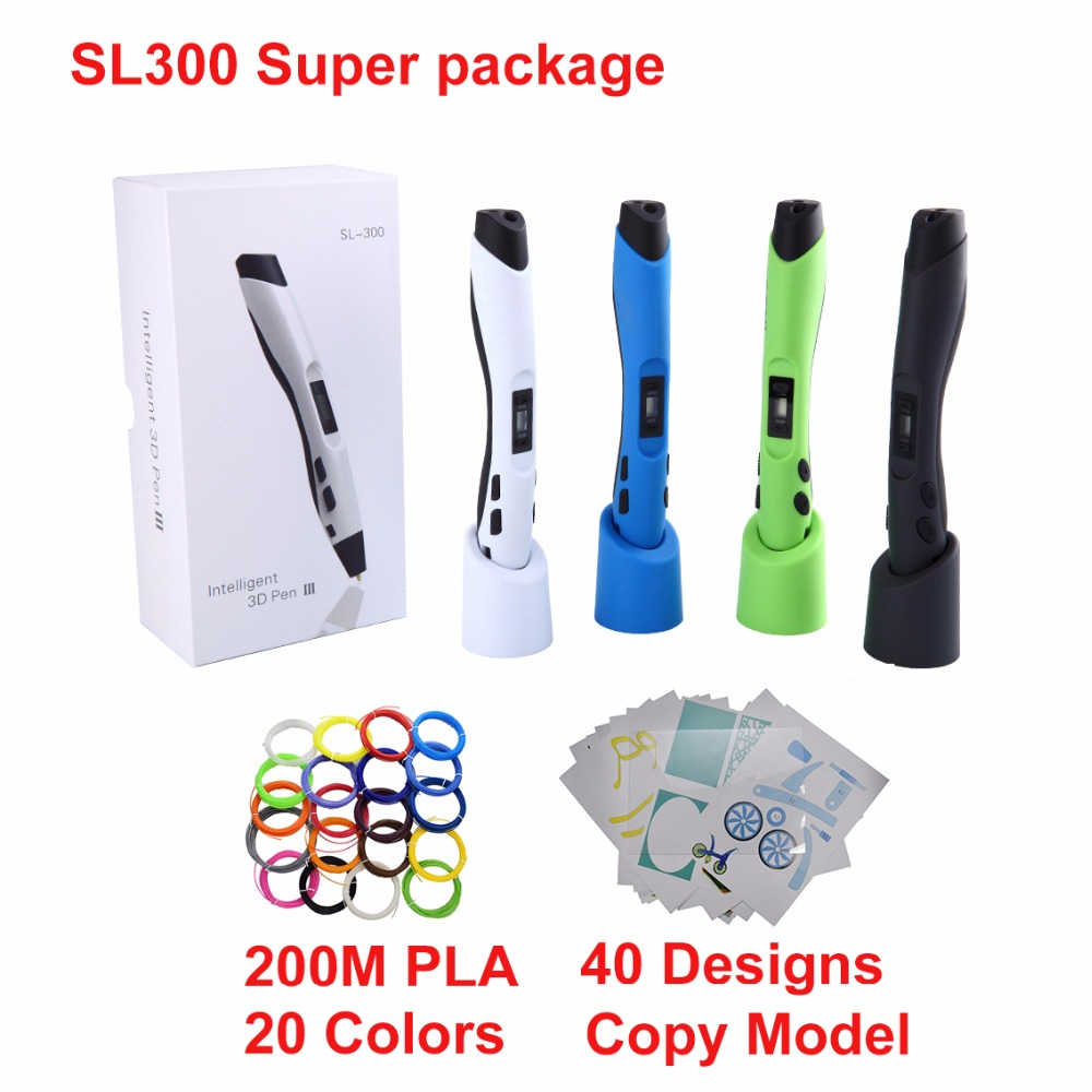 SL300 Children doodle toy pen 3D pen with 22 *10M PLA  filament LCD control speed and temperature safe for children use
