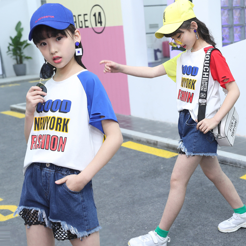2018 Summer Girls Clothing Set New Arrivals Baby Girls Hole Jeans Shorts Pants T Shirt Outfits Suit Children Clothes Set 2 Piece 2017 new pattern small children s garment baby twinset summer motion leisure time digital vest shorts basketball suit