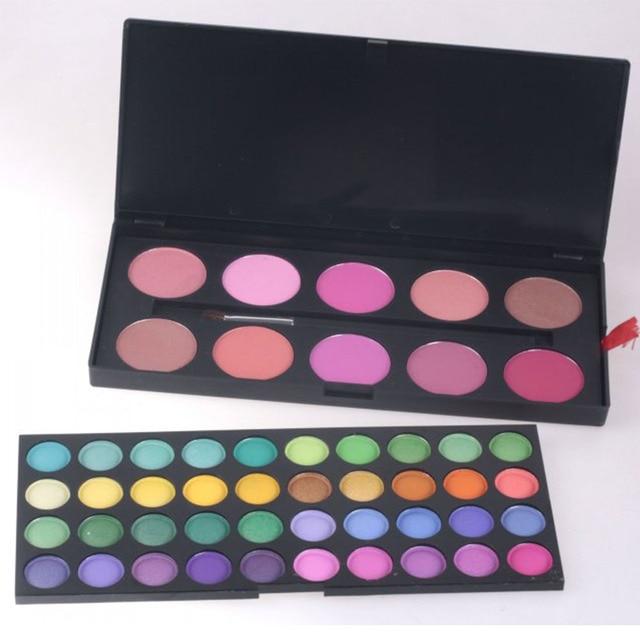 Professional 50 Full Color Makeup Eyesahdow Blush Set Brand Cosmetic Eyeshadow Powder Make up Brush Palette Kit