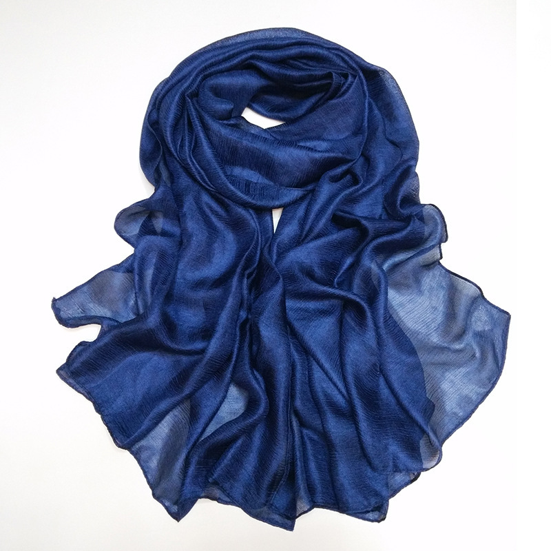 2020 New Fashion Plain Navy Blue Silk Scarf Women 100% Natural Linen Soft Hijabs And Shawls Wrap Foulards Muslim Snood 180*90Cm