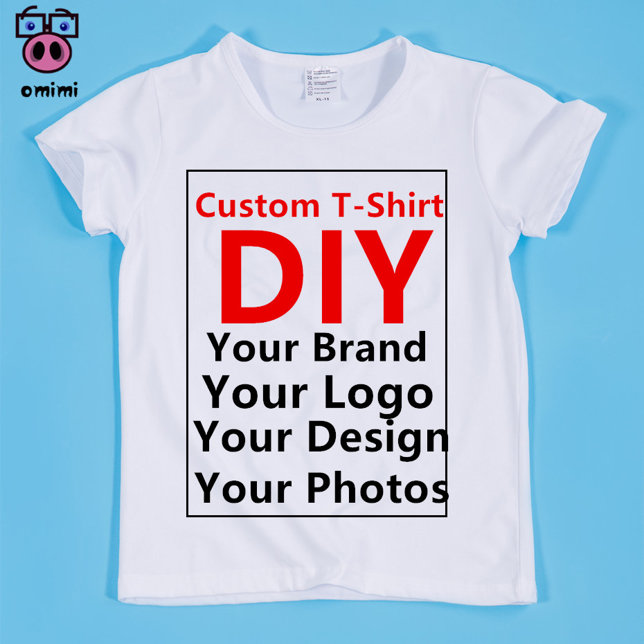 Boy and Girl Custom Print White Soft T Shirt Children DIY Print Your Design Photos Picture T shirts Kid DIY Top Baby Clothing fashion baby girl t shirt set cotton heart print shirt hole denim cropped trousers casual polka dot children clothing set
