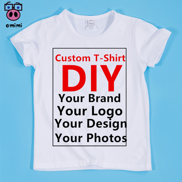 12395fee3 Boy and Girl Custom Print White Soft T Shirt Children DIY Print Your ...