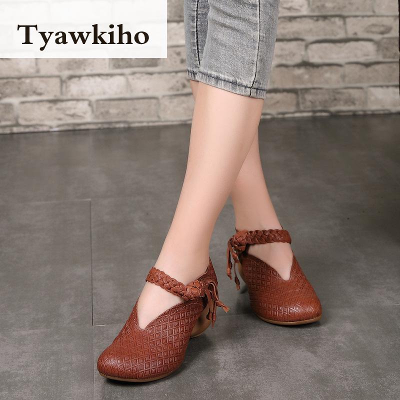 Tyawkiho женские туфли лодочки из натуральной кожи вышивка 6 см высокие каблуки Для женщин кожа обувь весна 2018 Женская Кофе туфли лодочки ручной
