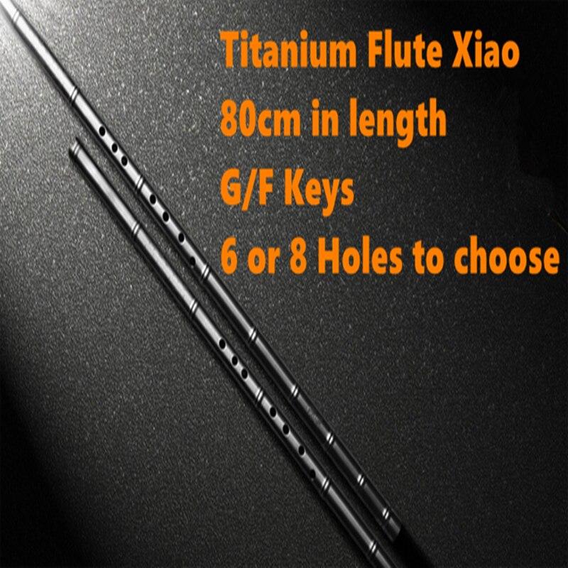Titane Métal Flûte Xiao 80 cm G/F Clé pas dizi vertical Flûte 6 ou 8 trou Professionnel En Métal flauta Xiao Auto-défense Arme