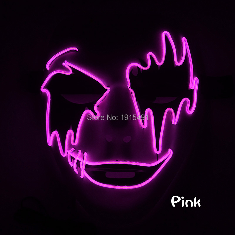 Halloween Sparkling Cold Light Vendetta Mask Grotesque Neon Led Strip Single Eyebrow Terrified Mask as Glow In Dark Party Props architectural grotesque