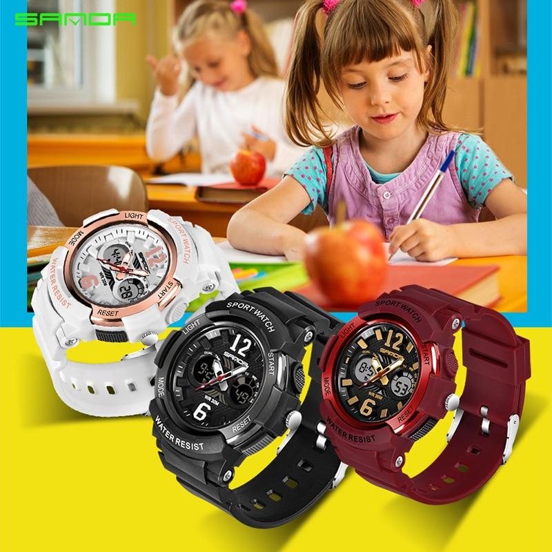 SANDA Digital Watch Electronic Waterproof Kids Luxury Brand Sport