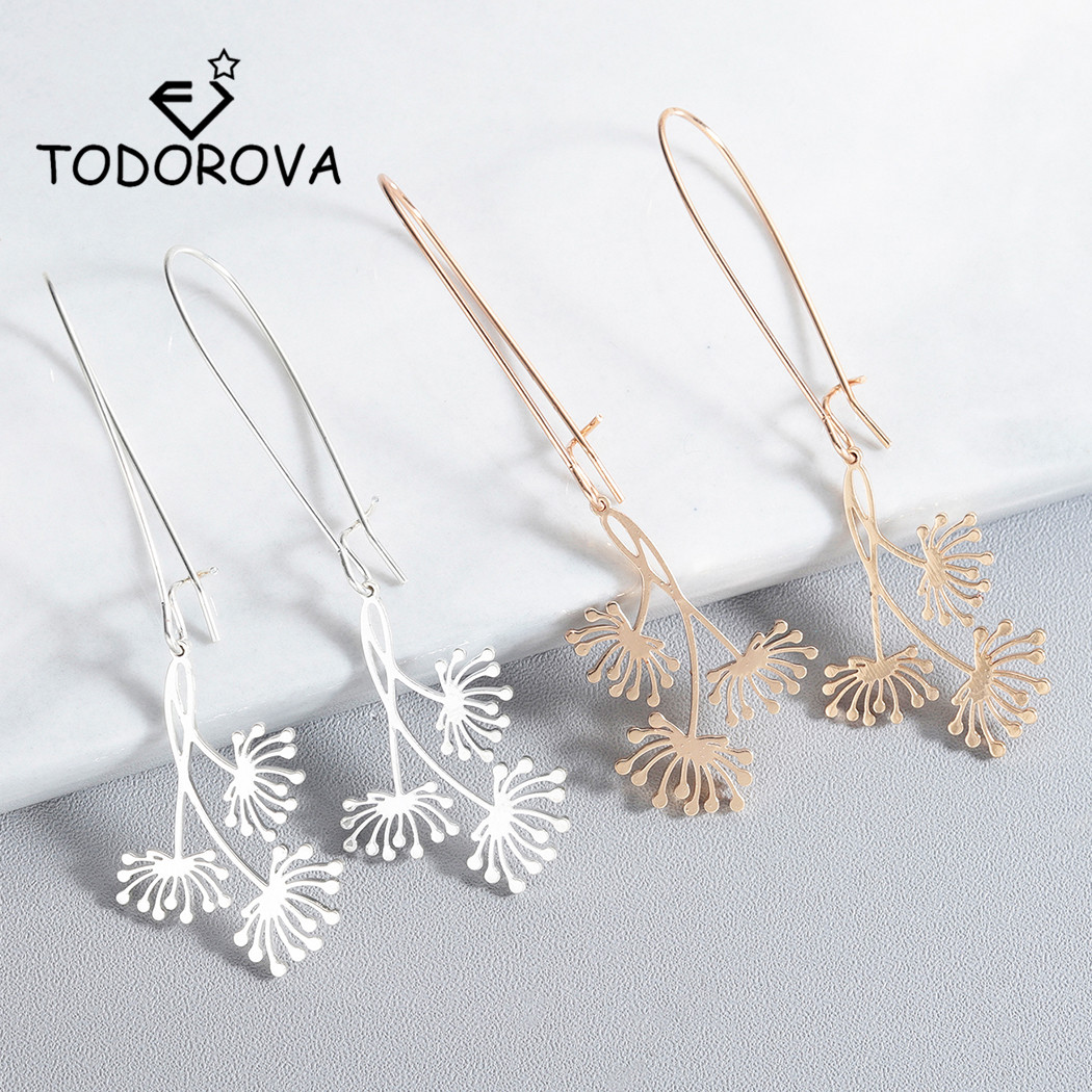 Todorova Trendy Dandelion Wishing Dangle Drop Earrings Bohemia Lucky Flower Earrings for Women Jewelry Birthday Gift