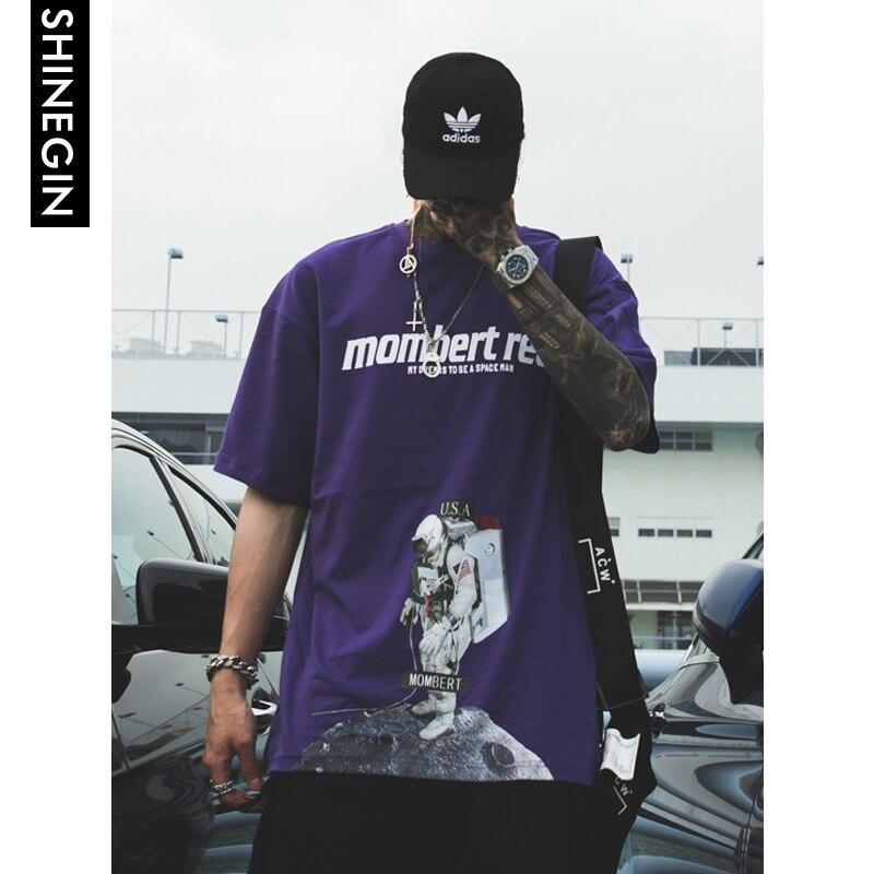 SHINEGIN hommes astronaute imprimé chemises hip hop streetwear t-shirts à manches courtes lâche t-shirt décontracté hauts à la mode t-shirts 349 S
