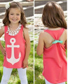 EMS DHL Бесплатная доставка новые горячие Девочки Лето Якорные рубашки Дети рубашка Без Рукавов вернуться лук детская одежда