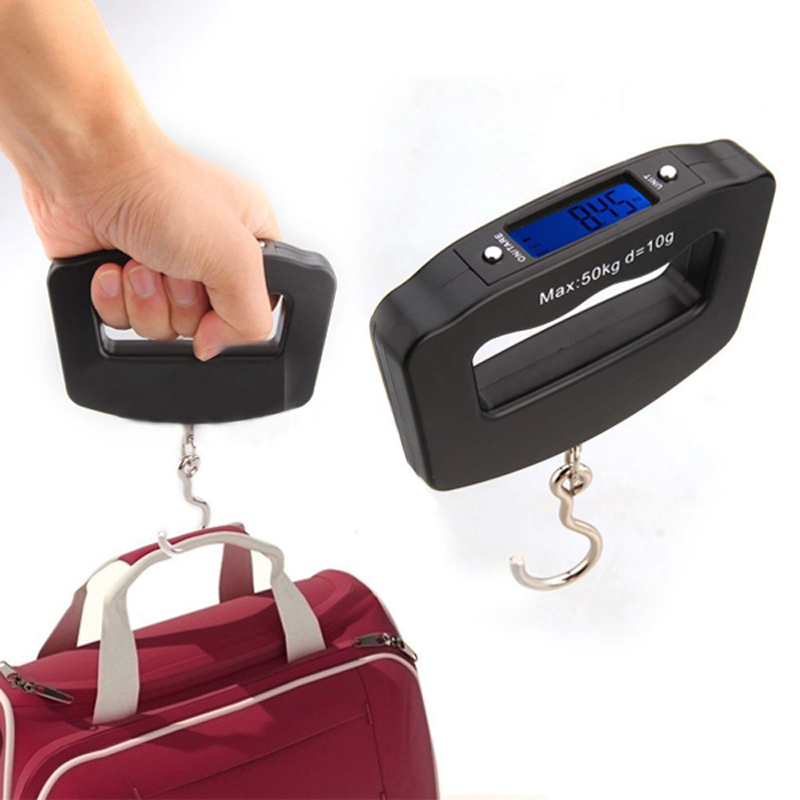 Portátil mini digital mano 50 kg * 10g gancho de pescados que cuelga Básculas ponderación electrónica equipaje Básculas retroiluminación azul pantalla led