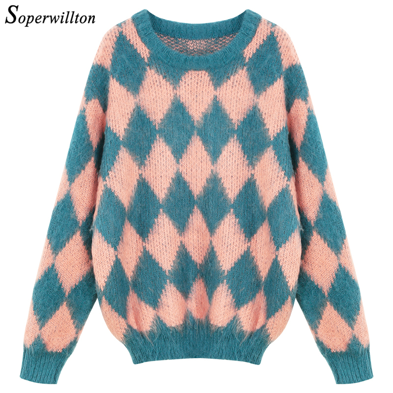Winter Women knitted pullover kawaii Sweaters Christmas Plaid Long Sleeve female jumper Casual 2018 Pullover ladies sweater #Y22