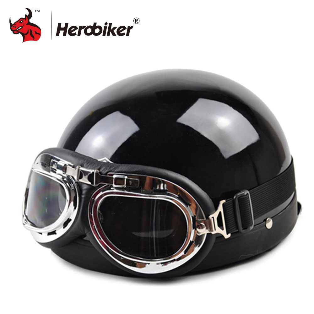 2017 Half Motorcycle Helmets Outdoor Sport Man And Woman Black Motorcycle Racing Helmet + Motocross Goggles Scooter Helmet motorcycle man