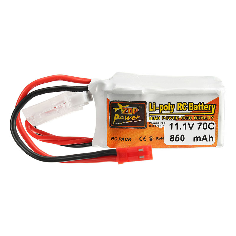 4PCS ZOP Power 11.1V <font><b>850mah</b></font> 70C <font><b>3S</b></font> <font><b>Lipo</b></font> Battery JST Plug For RC FPV Racing Drone image
