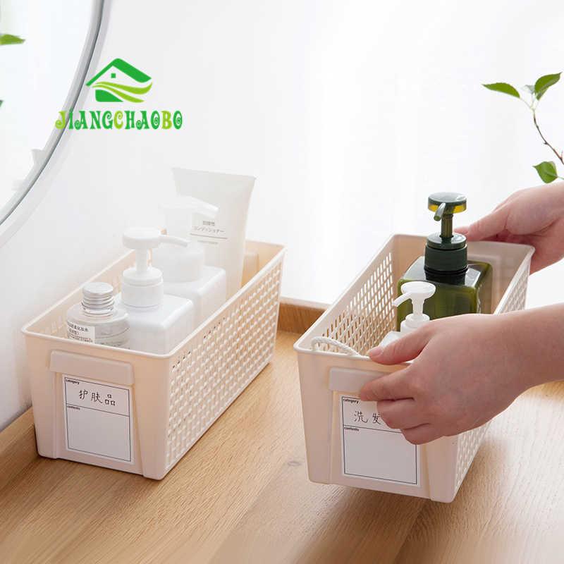 JiangChaoBo Rótulo de Plástico Cesta De Armazenamento Desktop Caixa de Armazenamento Cesta De Armazenamento Cesta De Armazenamento De Cozinha Banheiro Cesta Lanche