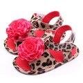 Детская обувь впервые уокер цветок леопард искусственная кожа мягкое дно Prewalker обувь