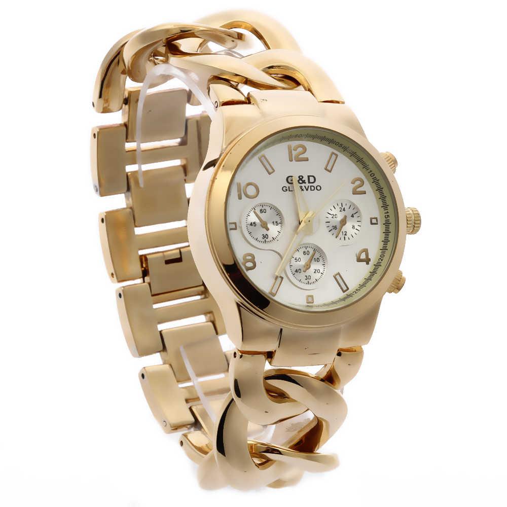 2018 החדש G & D כסף נשים קוורץ שעוני יד נירוסטה נשים בנות לצפות Reloj Mujer שעון מתנות Relogio Feminino