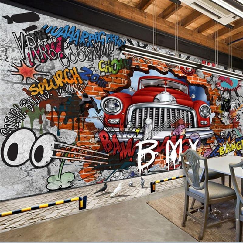 beibehang papel de parede para quarto Custom wallpaper Retro Nostalgic Continental 3D Brick Wall Car Graffiti Large Mural