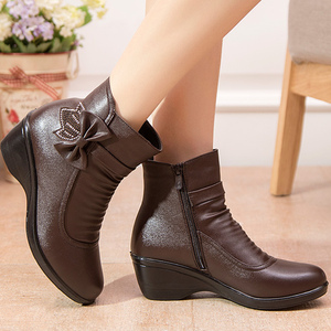 Image 1 - Booties woman 2020 New Butterfly knot Ankle boots for women shoes Winter boots short plush Fashion zip Female boot big size 41