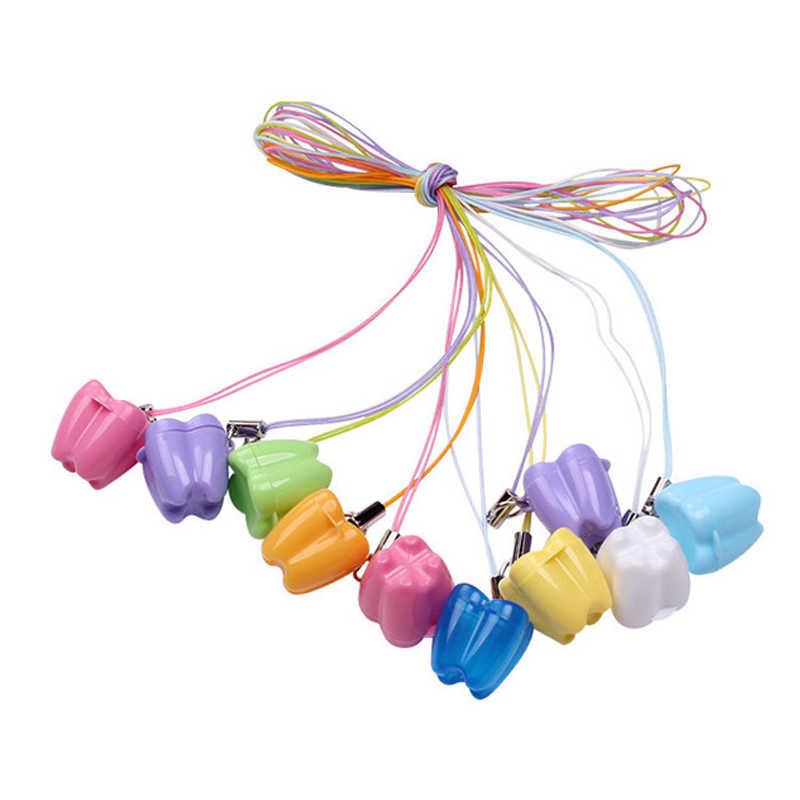 10 шт./партия, пластиковая мини-коробка для детских зубов, банный чехол, стоматологический первый контейнер для вставных зубов корзинка для полоскания, детский контейнер для хранения, ожерелье