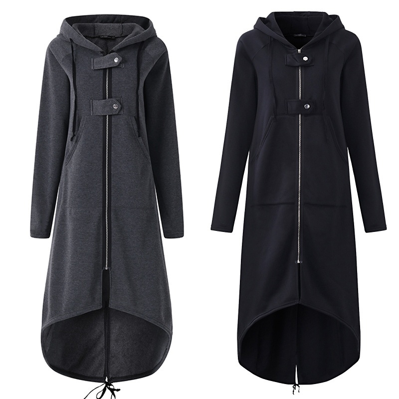 Casual Long Sleeve Hooded Trench Coat 2018 Autumn Black Zipper Plus Size 5XL Velvet Long Coat Women Overcoat Clothes(China)