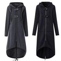 Повседневный длинный рукав с капюшоном Тренч 2018 осеннее черное на молнии плюс размер 5XL бархатное длинное пальто женское пальто одежда