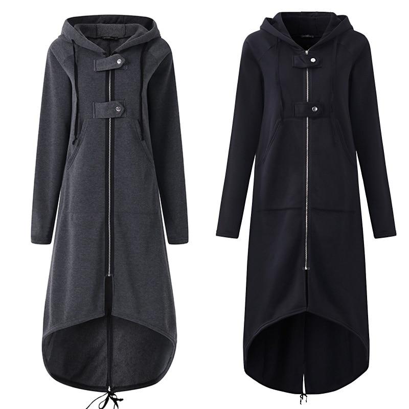 Casual Langarm Mit Kapuze Graben Mantel 2018 Herbst Black Zipper Plus Größe 5XL Samt Langen Mantel Frauen Mantel Kleidung