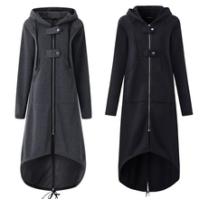 Casual Long Sleeve Hooded Trench Coat 2018 Autumn Black Zipper Plus Size 5XL Vel