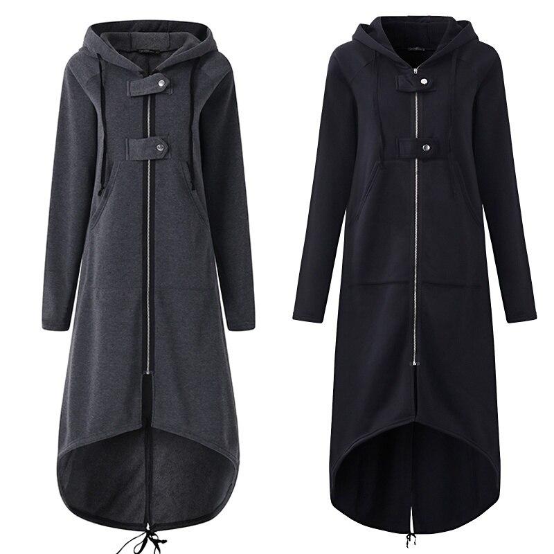 Casual de manga larga con capucha abrigo de Otoño de 2018 con cremallera negro Plus tamaño 5XL larga de terciopelo abrigo mujer abrigo ropa