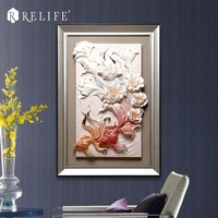 Framed Fish in the Flowers Room Wall Pictures Decorative Wall Panels for Corridor
