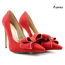 Aiyoway Elegant Women Ladies Bow Pointed Toe High Heel Pumps Wedding Party Dress Shoes Faux Suede Red US Size 5-15