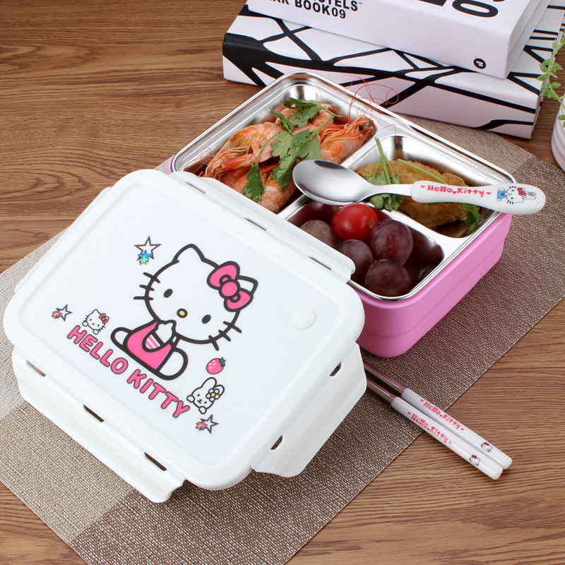 1200ml Cute Cartoon Lunch Boxes Hello Kitty Doraemon Heat Preservation Stainless Steel Kids Lunch Food Container