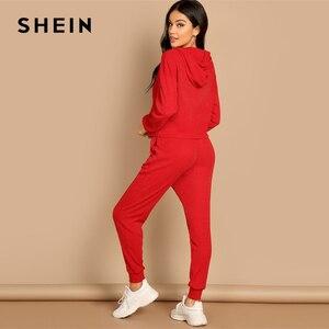 Image 4 - שיין אדום כיס שתוקנה מוצק הסווטשרט ומותני שרוך מכנסיים רגיל סט נשים שתי חתיכות סטי 2019 סתיו רגיל Twopiece