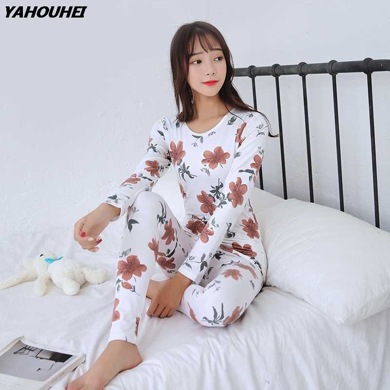 2019 Autumn Winter Thermal Underwear Sets for Women Long Sleeve Thick Warm  Body Shaper Pajamas Girls 3726bf2f0